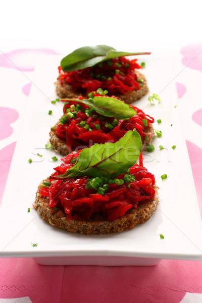 Rouge alimentaire pain viande salade Photo stock © sarsmis