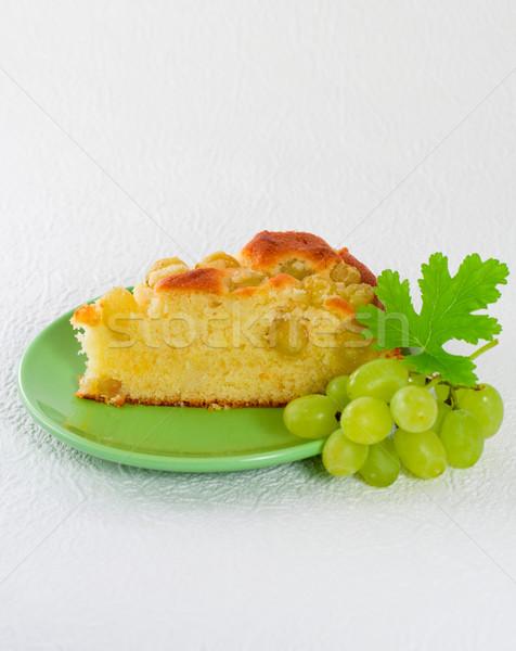 Eigengemaakt biscuit cake groene druiven stuk voedsel Stockfoto © sarsmis