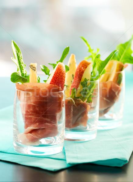 Apéritif poire verre salade fusée plat Photo stock © sarsmis