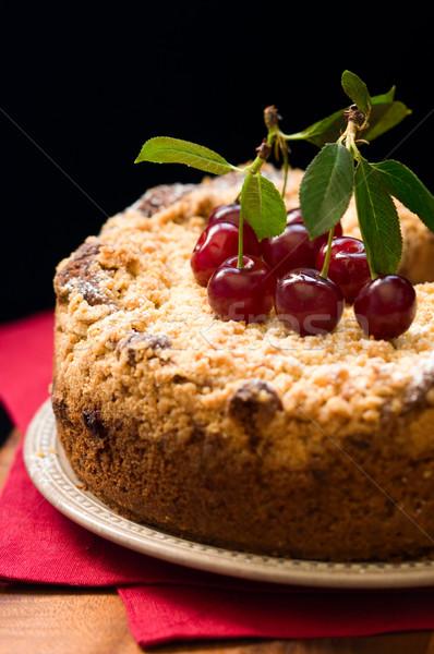 cherry crumble cake Stock photo © sarsmis