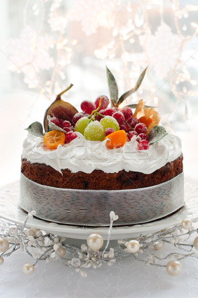 Christmas cake traditioneel fruitcake witte druif Stockfoto © sarsmis