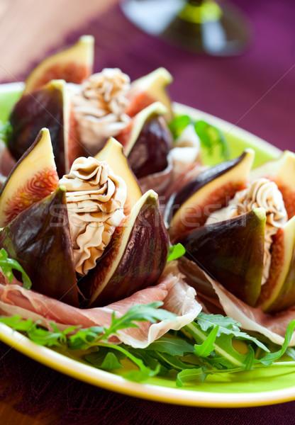 Balsamico azijn salade vers vruchten ham paars Stockfoto © sarsmis