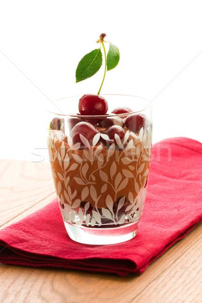 Csokoládé cseresznye desszert csokoládé hab friss anime Stock fotó © sarsmis