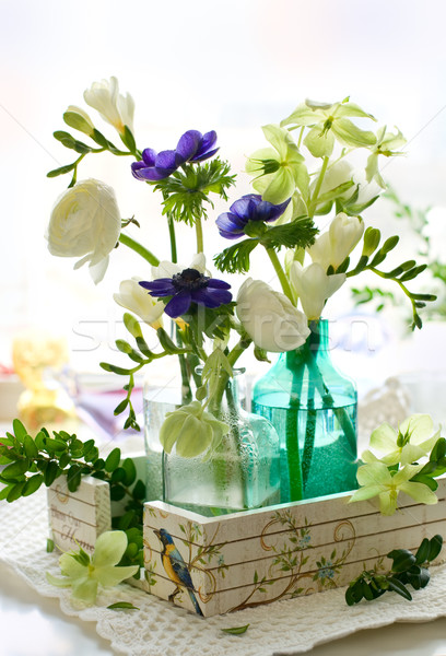 Bouquet of flowers( ranunculus; anemone; freesia,hellebore) Stock photo © sarsmis