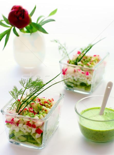 Süzme peynir taze sebze kulübe salata sosu peynir kahvaltı Stok fotoğraf © sarsmis