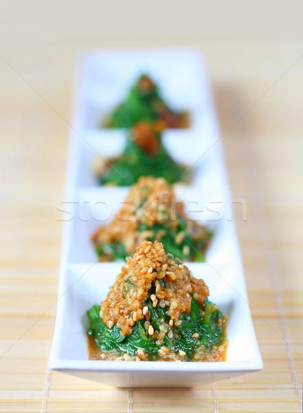 ıspanak salata susam gıda yaprak yeşil Stok fotoğraf © sarsmis