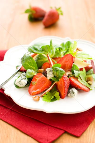 Салат клубники фрукты зеленый сыра красный Сток-фото © sarsmis