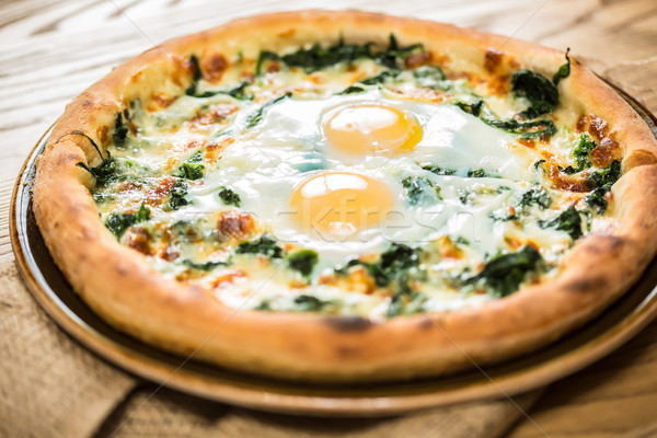 Pizza tojás reggeli szelektív fókusz zöld kenyér Stock fotó © sarymsakov