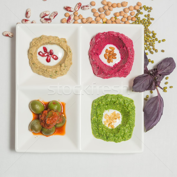 Zdrowych zestaw biały żywności chleba Zdjęcia stock © sarymsakov