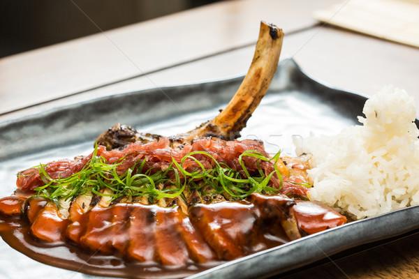 Domuz eti soğan baharatlar restoran Stok fotoğraf © sarymsakov