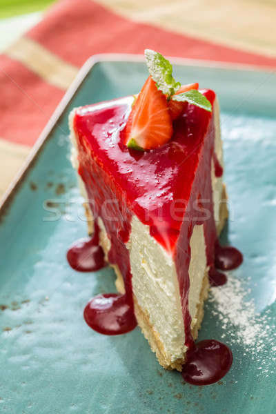Dessert cheesecake baies sauce vert menthe Photo stock © sarymsakov