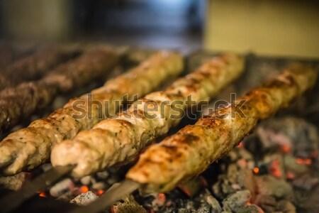 Stock fotó: Faszén · barbecue · étel · nyár · zöld · hús