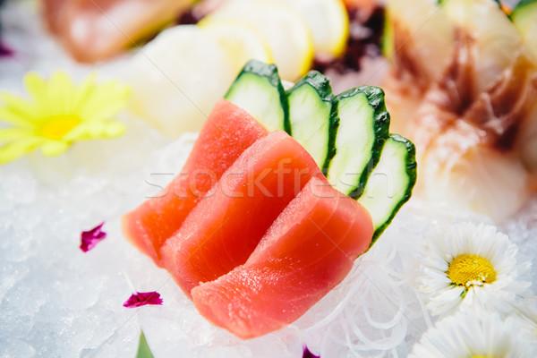 Tonno sashimi fresche greggio bianco ravanello Foto d'archivio © sarymsakov