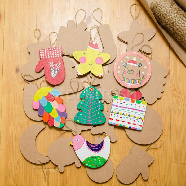 Stock fotó: Karton · játékok · karácsonyfa · girland · új · év · díszítések