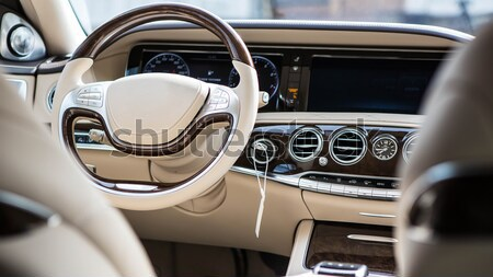 Car interior luxury. Interior of prestige modern car. Leather comfortable seats, dashboard and steer Stock photo © sarymsakov
