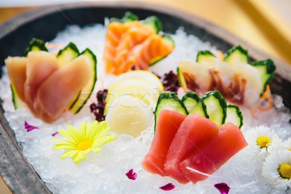 Vers ruw sashimi ijs plaat Stockfoto © sarymsakov