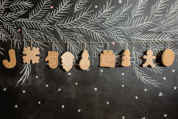 Karton oyuncaklar noel ağacı çelenk yaratıcı süslemeleri Stok fotoğraf © sarymsakov