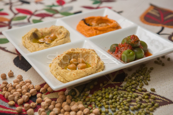Delicious and healthy hummus  Stock photo © sarymsakov