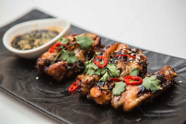 Sıcak tavuk kanatlar organik kırmızı biber Stok fotoğraf © sarymsakov