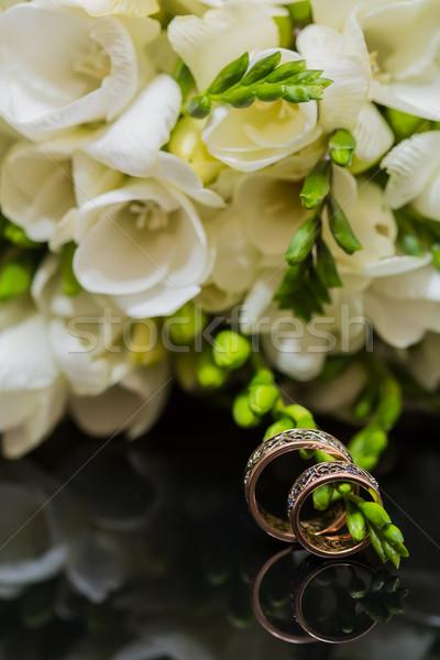 Two wedding rings in infinity sign. Love concept. Stock photo © sarymsakov