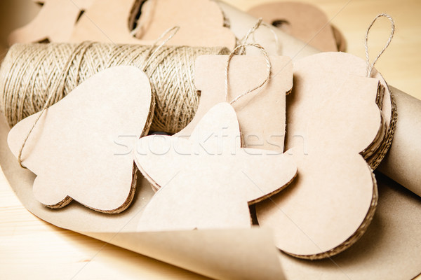 Cardboard toys for the Christmas tree or garland. New year decorations. Stock photo © sarymsakov