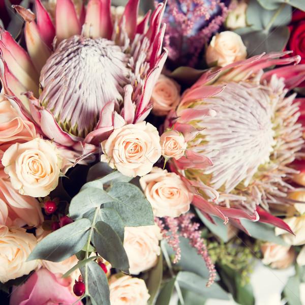 Schönen frischen farbenreich Bouquet Stock foto © sarymsakov