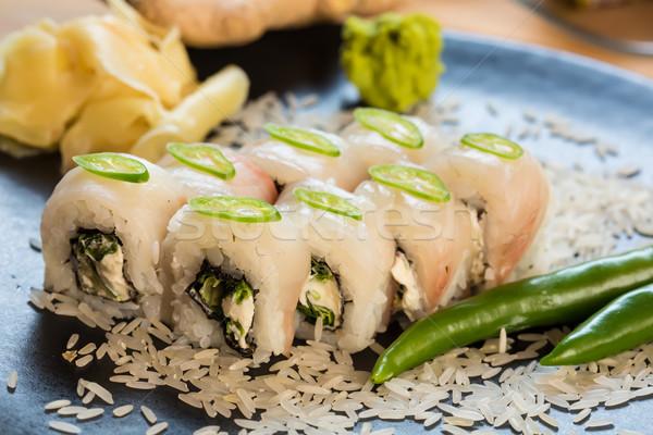 Ayarlamak Japon sushi siyah plaka balık Stok fotoğraf © sarymsakov