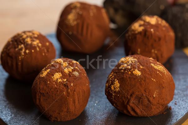 delicious chocolate truffles Stock photo © sarymsakov
