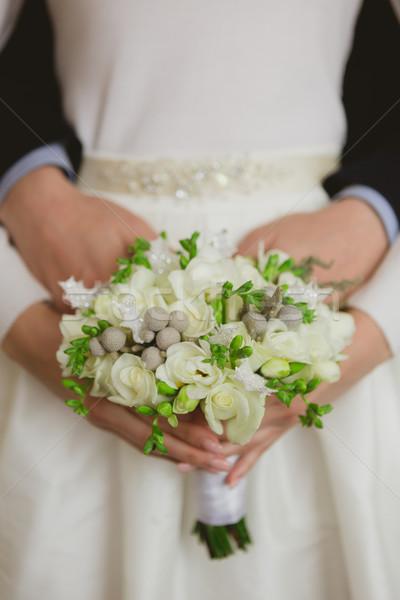 Elegáns menyasszony vőlegény pózol együtt stúdió Stock fotó © sarymsakov