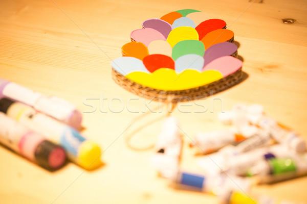 Színes játékok karton fa asztal kreatív lány Stock fotó © sarymsakov