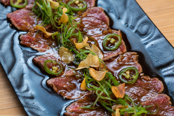 Carne escuro foco folha fundo verde Foto stock © sarymsakov