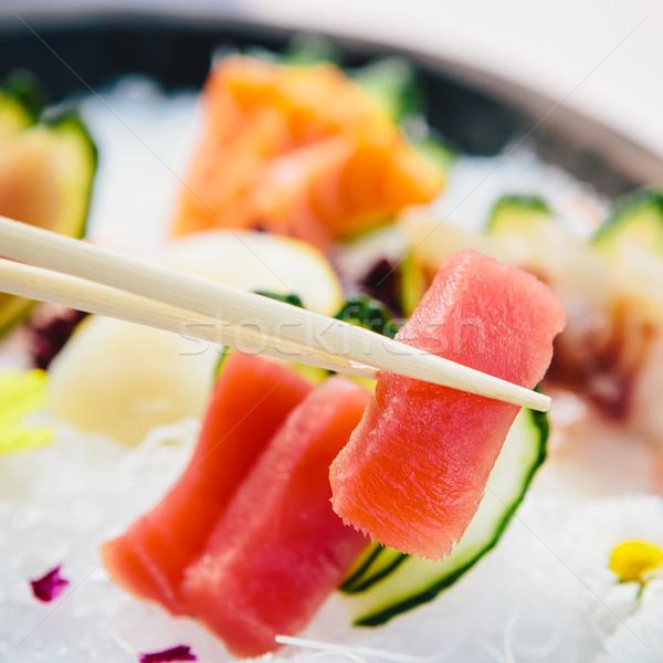 Ton balığı sashimi taze beyaz turp Stok fotoğraf © sarymsakov
