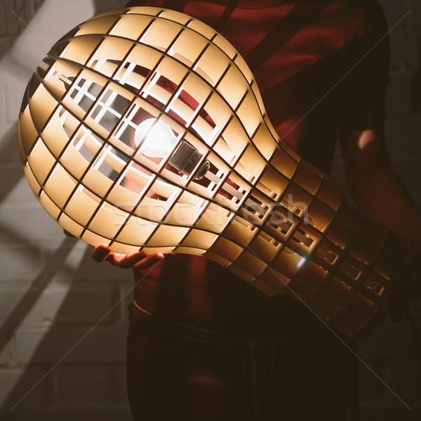 Hanging, wooden light shade lamp with bulb Stock photo © sarymsakov