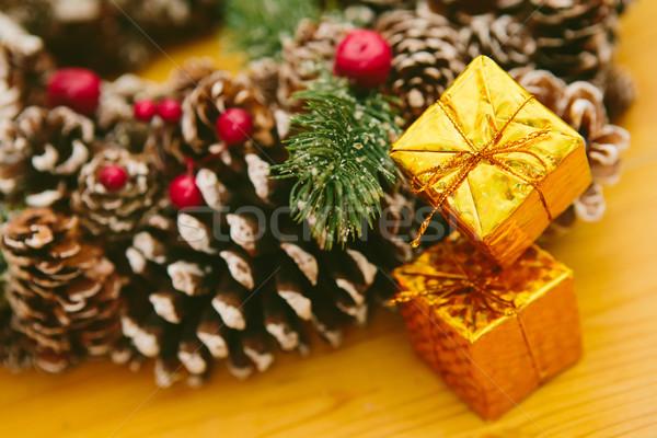 Karácsony dekoráció fából készült díszítések fa klasszikus Stock fotó © sarymsakov