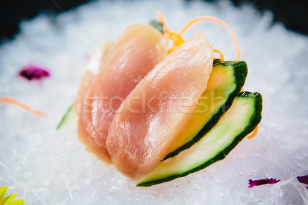 Taze sashimi buz plaka Stok fotoğraf © sarymsakov