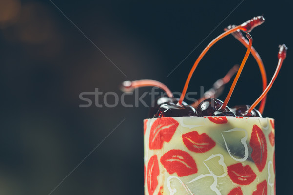 vanilla dessert with cherry confiture Stock photo © sarymsakov