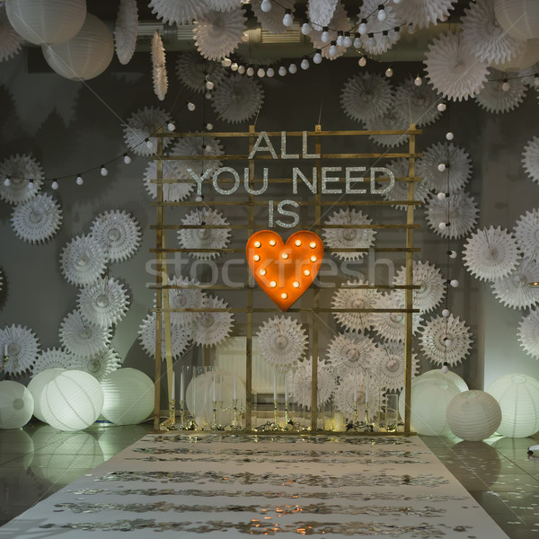 арки Свадебная церемония стульев вечеринка любви Сток-фото © sarymsakov