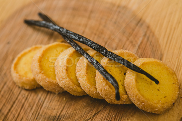 Fresh baked shortbread cookies with  with vanilla sticks on a wood Stock photo © sarymsakov