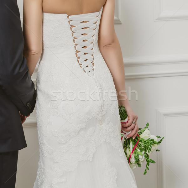 Stock fotó: Elegáns · menyasszony · vőlegény · pózol · együtt · stúdió