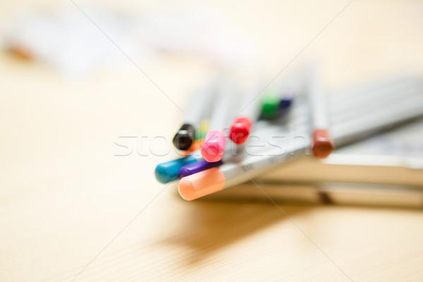 Közelkép szín ceruzák fából készült különböző iroda Stock fotó © sarymsakov