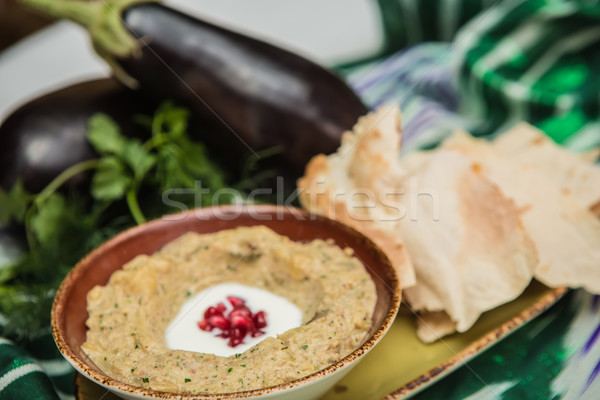 Traditional arabian eggplant dip baba ganoush  Stock photo © sarymsakov