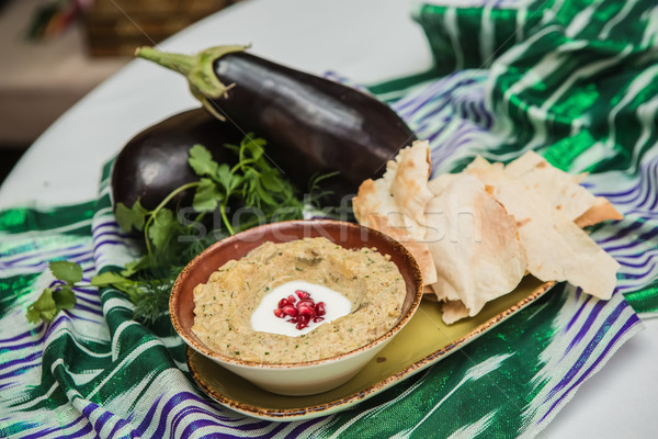 Traditional arabian eggplant dip baba ganoush  Stock photo © sarymsakov