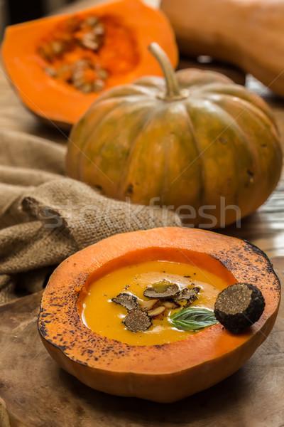 Krém sütőtök leves magok és fokhagyma Stock fotó © sarymsakov
