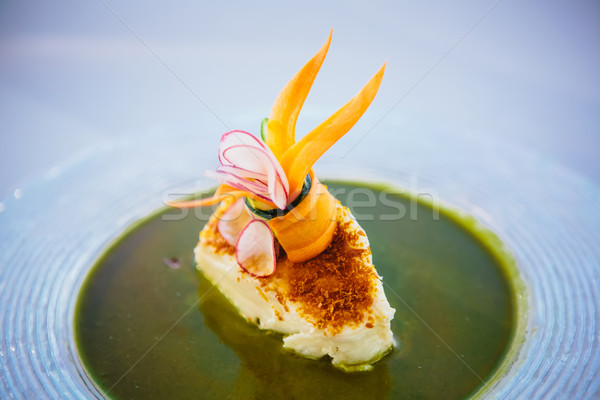 Hal edény filé mártás zöldségek étel Stock fotó © sarymsakov