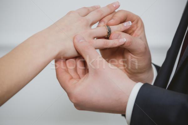 жених кольца пальца жена мне сегодня Сток-фото © sarymsakov