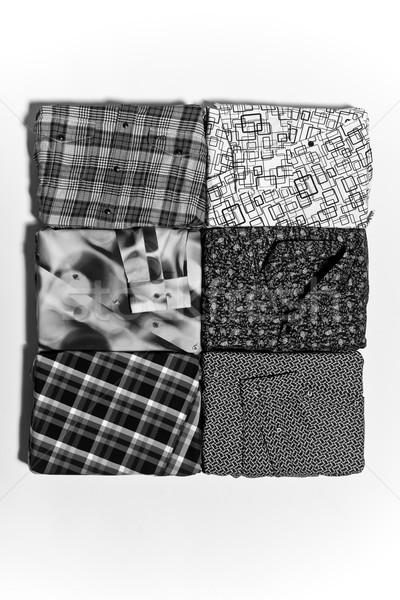 Absztrakt mértani feketefehér nyomtatott szövet közelkép Stock fotó © sarymsakov