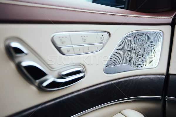 Car inside. Interior of prestige modern car. Climate control, hi-end sound speakers, seat memory, do Stock photo © sarymsakov