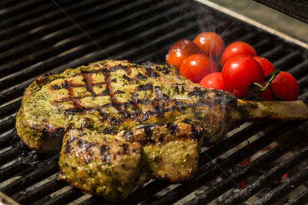 steak flame broiled on a barbecue Stock photo © sarymsakov
