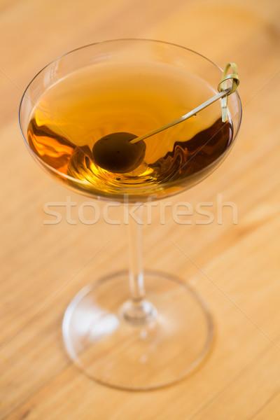 Fa asztal szelektív fókusz buli üveg háttér nyár Stock fotó © sarymsakov