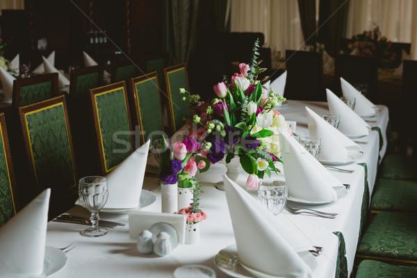 Güzel çiçekler tablo düğün gün parti Stok fotoğraf © sarymsakov